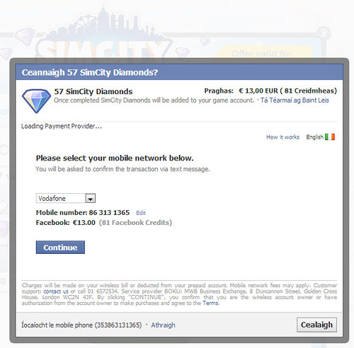 Mobile payment fees on purchasing Facebook game credits