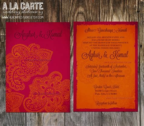 Indian Style Wedding Invitation in orange red Indian
