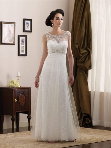 Simple Beaded Lace Satin Full Length A line Informal