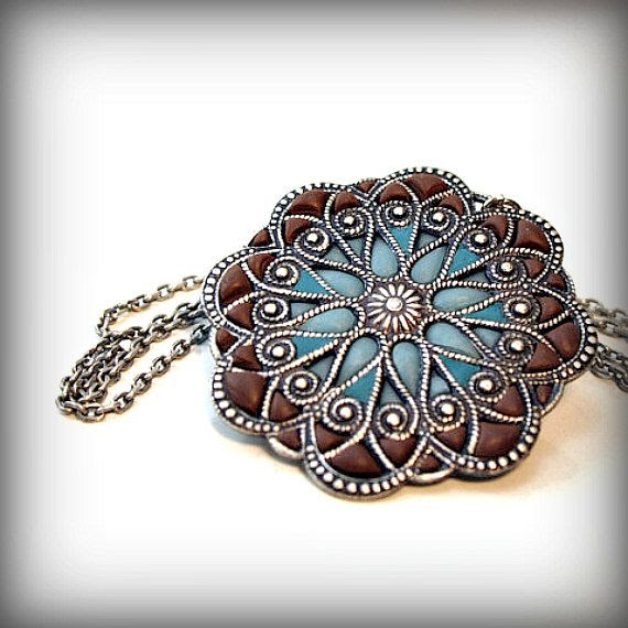 Mandala Blue Medallion Necklace  someday I'll use this as inspiration.
