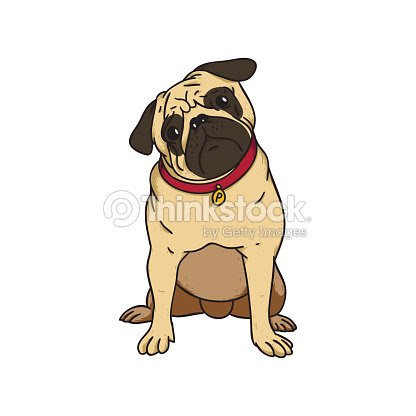 抽象的なイラストのかわいい子犬パグ ベクトルアート Thinkstock