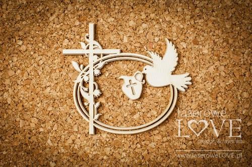 LA171126 - Ramka owalna i krzyż z konwaliami z gołębiem - Baby lily.jpg