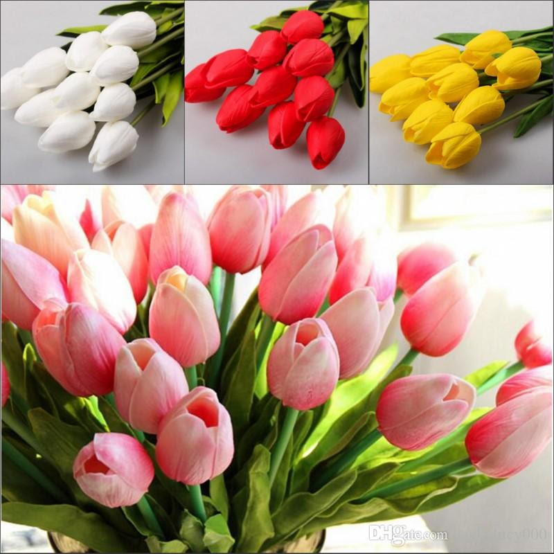 2017 Tulip Artificial Flowers Wholesale Real Touch Pu Artificial Bouquet Flowers For Home Gift