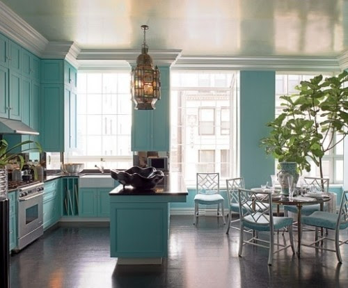 Colorful kitchen cabinets