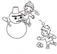 雪合戦する男の子塗り絵バージョン無料こどもイラスト図鑑