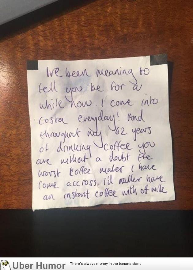 My Step Sister Works In Costa Coffee And Had This Note Left For Her
