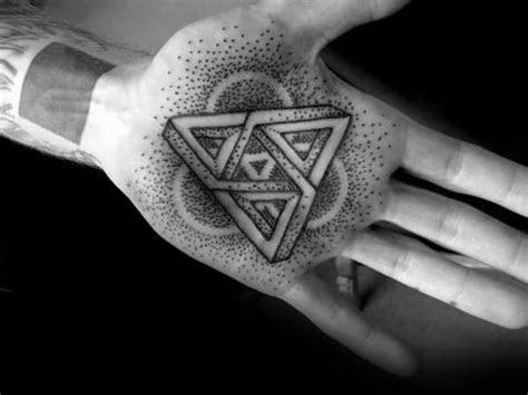 geometric hand tattoos men pattern design ideas