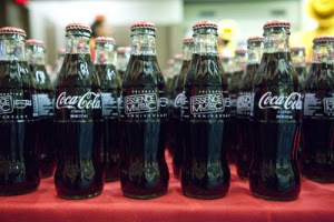A display of Coca-Cola bottles celebrating the 15th Anniversary of Essence Festival at the 2009 Essence Music Festival Photo: Wire Image
