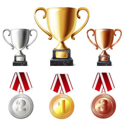 トロフィー金銀銅メダルのイラストaieps ベクタークラブ