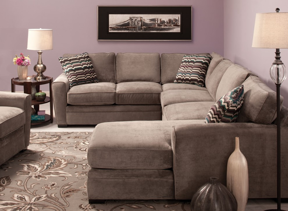 Glamorous Microfiber Sectional Sofa In Living Room Contemporary With Next To Mattress Alongside Antique Table Lamps And Raymour And Flanigan Ideas