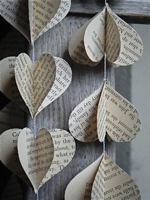 Vintage 3D Paper Mobile Heart Strings Jane Austen Pride and Prejudice or Sense and Sensibility