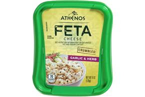 Athenos Crumbled Garlic & Herb Feta Cheese 6 Oz. Tub ...