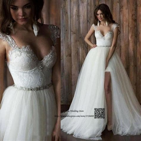 Unique 2 Piece Wedding Dresses Detachable Skirt Lace Bride