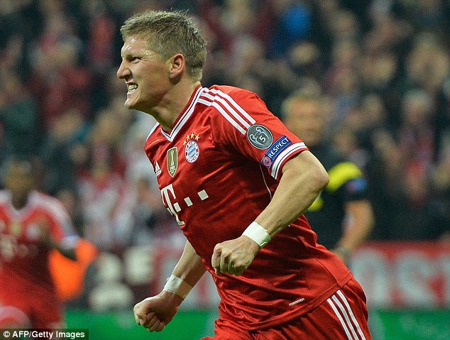 Miss: Bastian Schweinsteiger took a shot from far out which Guardiola was very annoyed about