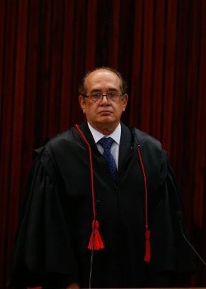 O ministro Gilmar Mendes, ao tomar posse do cargo de presidente do TSE (Tribunal Superior Eleitoral)
