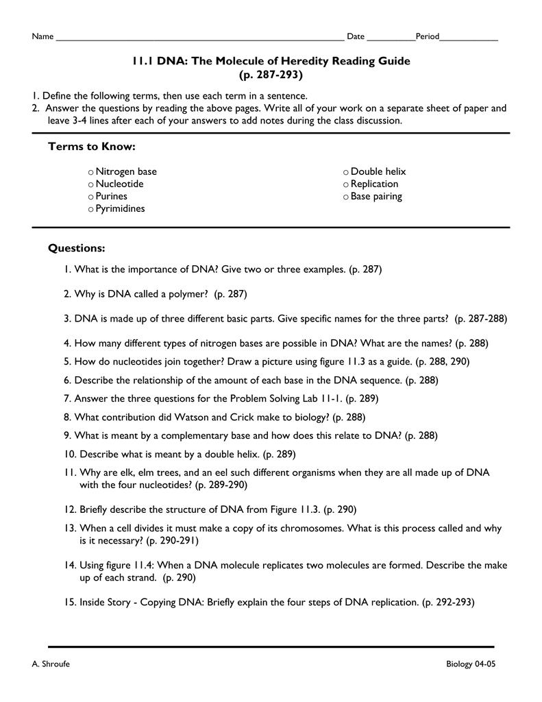 worksheet. Dna The Molecule Of Heredity Worksheet Key. Grass Fedjp Worksheet Study Site