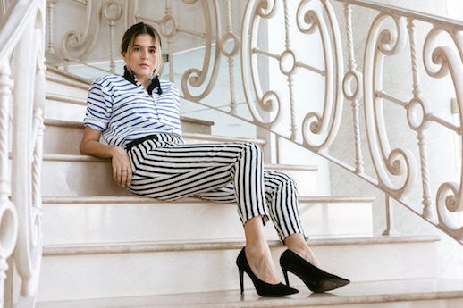 Le Fashion Blog Double Stripes Blue Striped Shirt Striped Pant Pumps Via A Constellation Journal