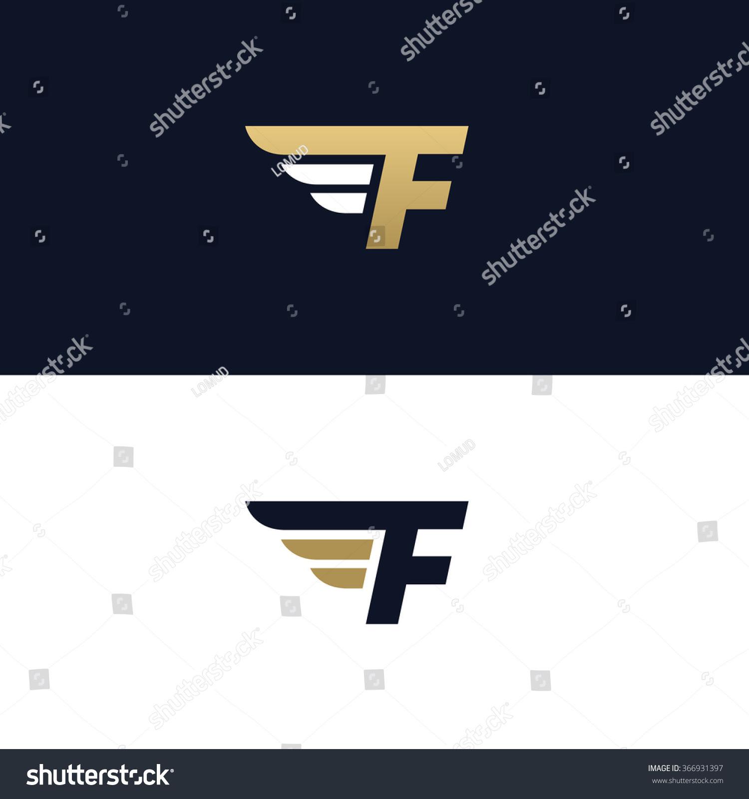 Letter F Logo Template Wings Design Stock Vector 366931397