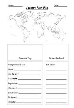 Country Fact File Template Geography World Map | Football