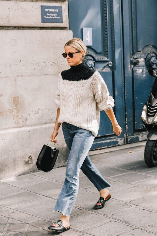 Le Fashion Blog Sunglasses Chunky Sweater Raw Hem Straight Leg Jeans Black Loafers Via Collage Vintage