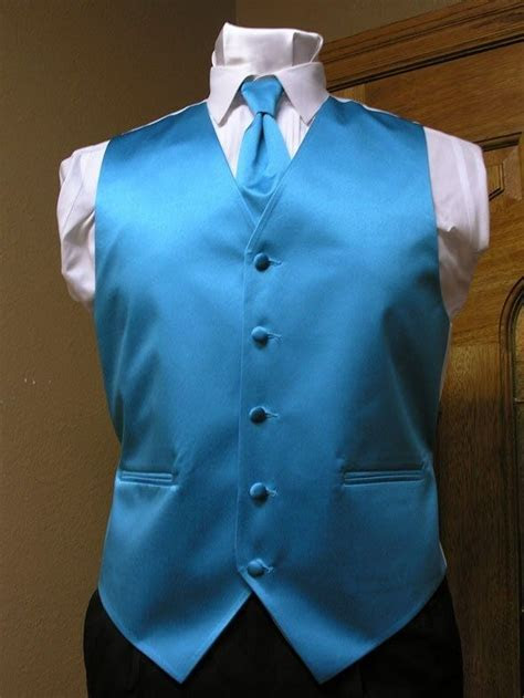 Vest Mens Turquoise Satin Neck Tie Tuxedo Steampunk