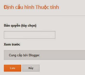 """Thuộc tính """"Cung cấp bởi Blogger"""""""