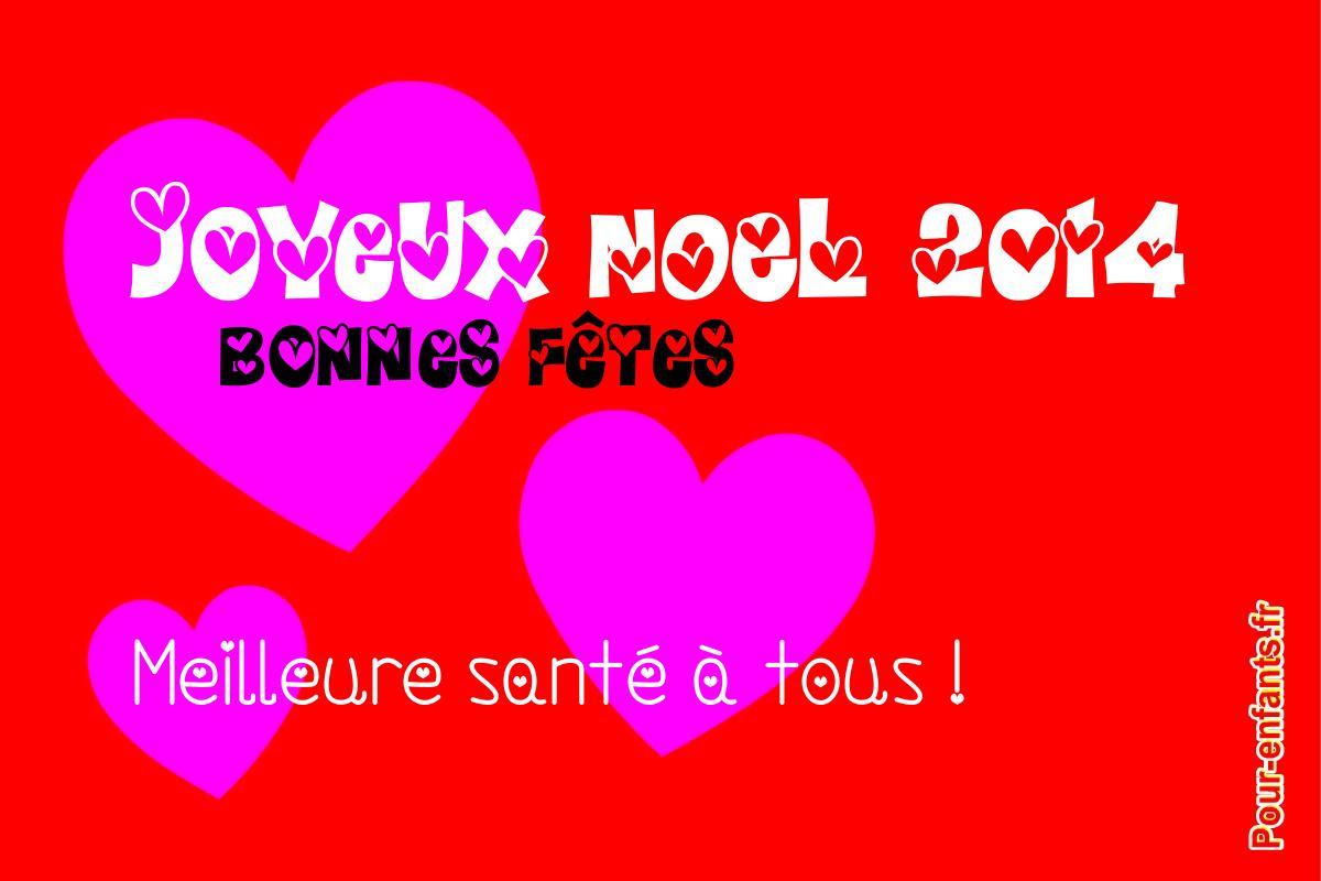 Joyeux NOEL 2014 Dessin à imprimer avec coeurs Bonnes fetes
