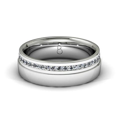 Platinum 950 Mens Diamond Set Wedding Band 0.45ct