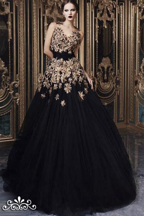 Dresses, Fall Couture Hand Embroidered Black Tulle Gown