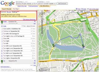 Google Maps Directions Walk Mode