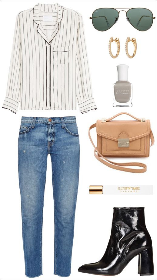 Le Fashion Blog Striped Button Down Aviator Sunglasses Huggie Earrings Grey Nails Nude Loeffler Randall Satchel Current Elliott Cropped Frayed Jeans Topshop Heeled Boots Spring Style