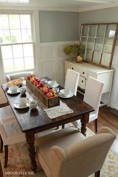 Love this kitchen table and upholstered chairs