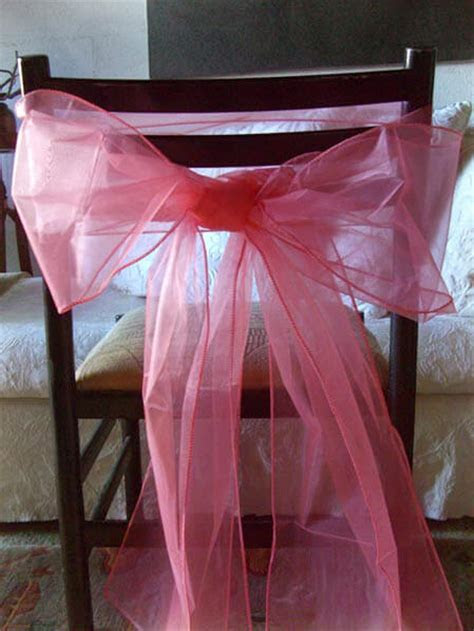 Organza Chair Bows in Coral   Pack of 10