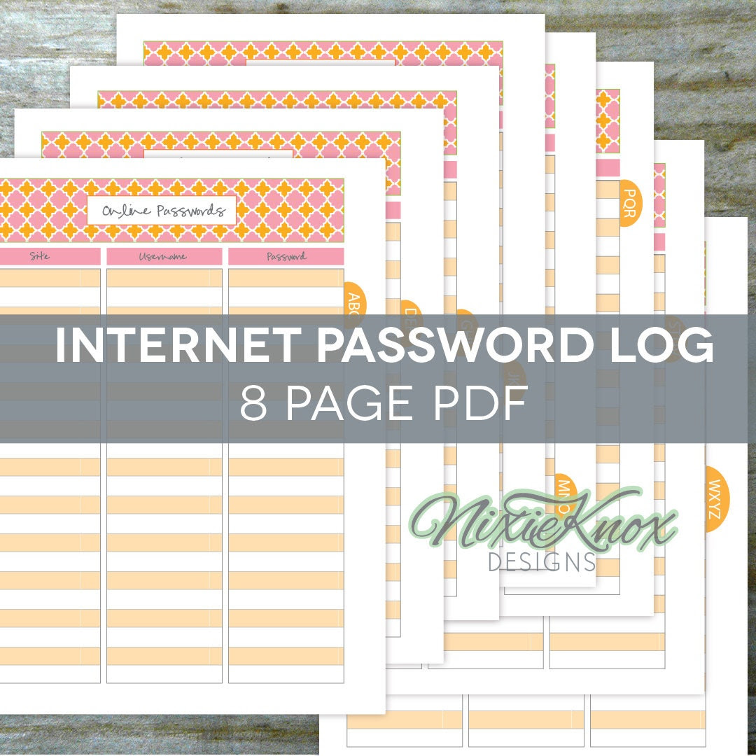 Password Keeper EDITABLE Printable - 8 Alphabetical Pages, Website ...