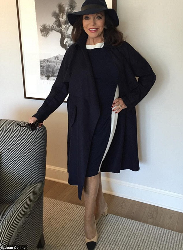 Keeping up in the style stakes for lunch in Manhattan in this Ralph Lauren jersey dress (£145) and navy Max Mara coat (£725). My two-tone shoes are by Chanel - the low block heel and comfortable insole make them very easy to walk around in