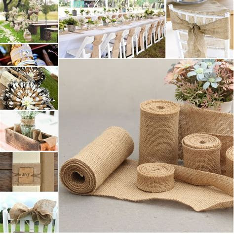Natural Jute Hessian Burlap Ribbon Rustic DIY Wedding
