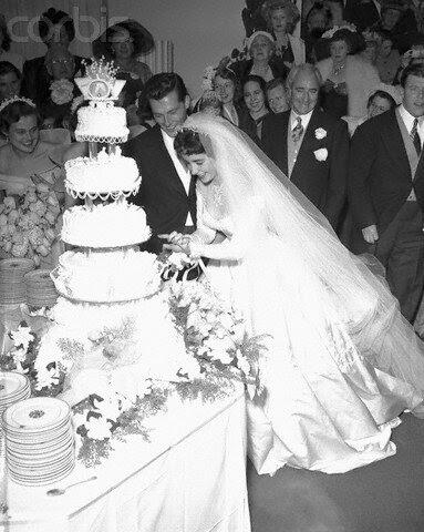Nicky Hilton and Liz Taylor Cutting Cake