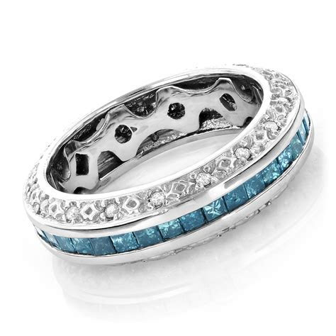 Gold Blue Diamond Wedding Band Eternity Ring 2.64ct (Item