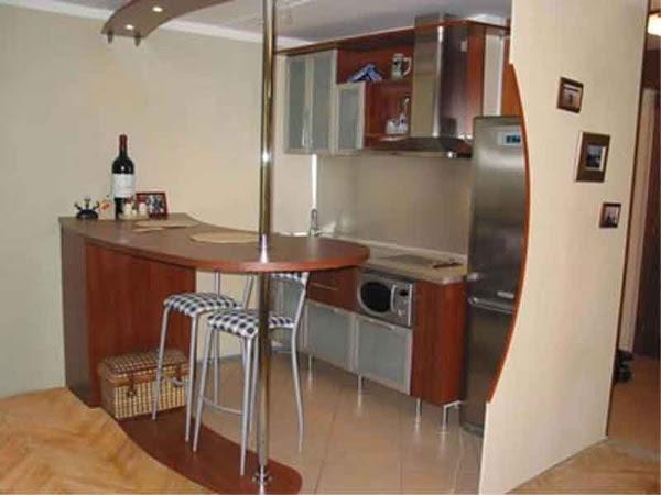 Мебель для маленькой кухни с барной стойкой
