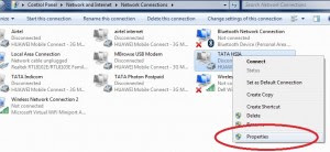 usb modem properties select