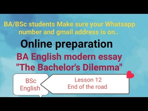 BA English Quiz-14 The Bachelor's Dilemma