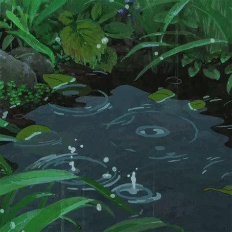 pond drops rainstorm art