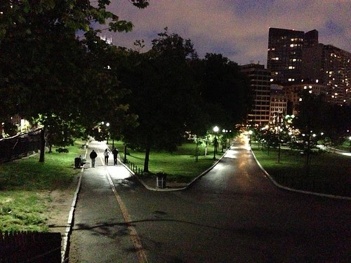 Boston Common at night