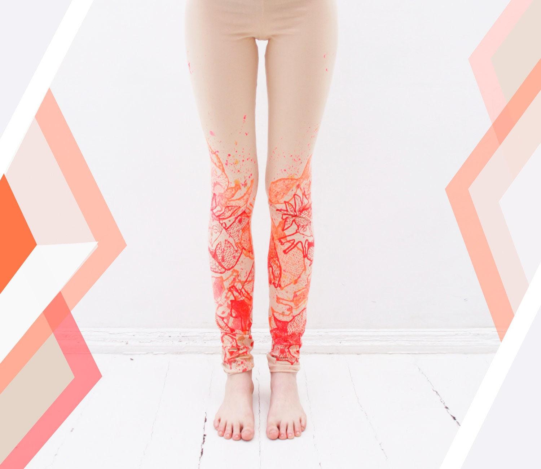 Coral orange fancy animal print leggings - ZIBtextile