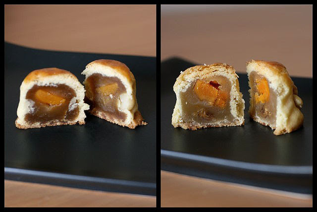 Baked pastry crust mooncakes with salted egg yolk (macadamia and walnut versions)