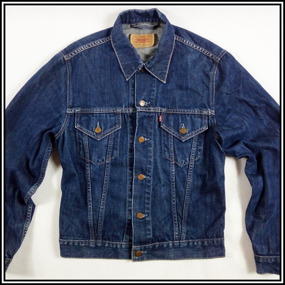 levi's 70500 04 men's jeans jacket size l dark blue denim