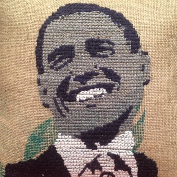Oh yes! On burlap, no less! Taken by my mama today at ABC home. We swapped coasts this week!