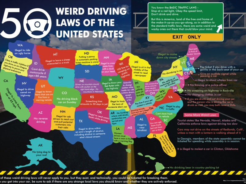 Map 50 weird traffic laws of the united states