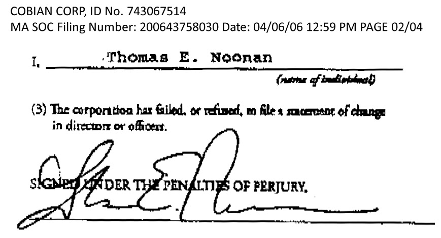NIAC Advisory Meeting Minutes re. Thomas E. Noonan's failure to disclose his IBM association.