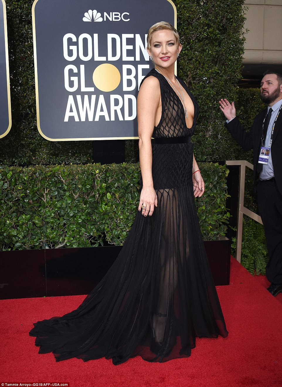 Cheeky! Kate Hudson showed off her sculpted legs as well as her cleavage in her sheer halter Valentino gown for the Globes